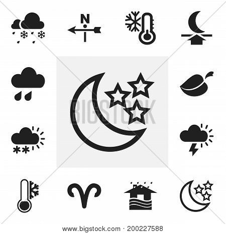 Set Of 12 Editable Climate Icons. Includes Symbols Such As Frost Temperature, Plant, Snow Granule And More