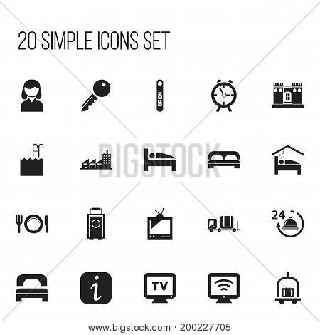Set Of 20 Editable Hotel Icons. Includes Symbols Such As Baggage, Tv, Luggage And More