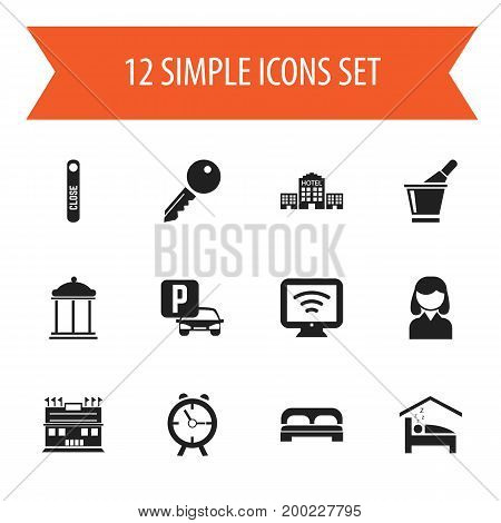 Set Of 12 Editable Hotel Icons. Includes Symbols Such As Wireless Tv, Bedroom, Female And More