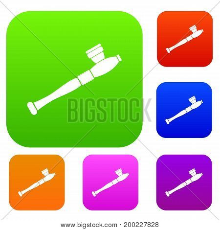 Pipe for smoking marijuana set icon in different colors isolated vector illustration. Premium collection