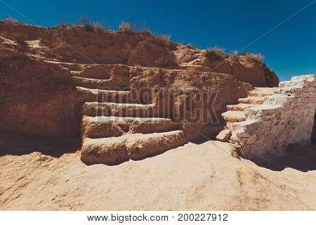 stair made of brown clay and bricks