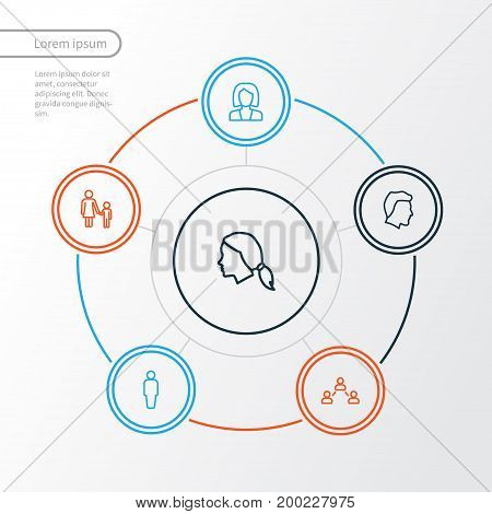 Person Outline Icons Set. Collection Of Social Relations, Head, Mother And Other Elements