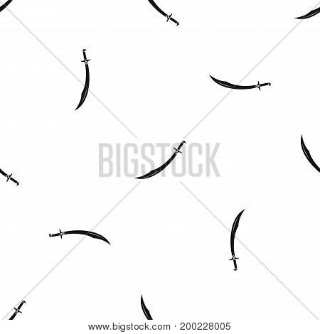 Scimitar sword pattern repeat seamless in black color for any design. Vector geometric illustration