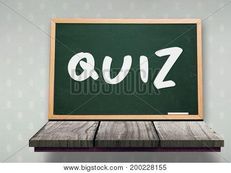Digital composite of quiz text on blackboard