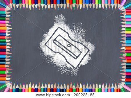 Digital composite of sharpener on blackboard