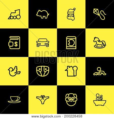 Set Of 16 Editable Family Outline Icons. Includes Symbols Such As Locomotive, Cup, Key And More