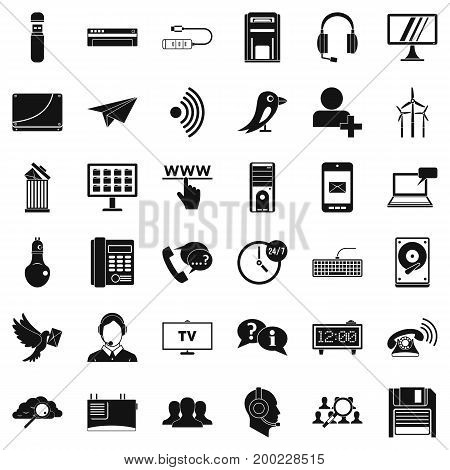 Wireless communication icons set. Simple style of 36 wireless communication vector icons for web isolated on white background