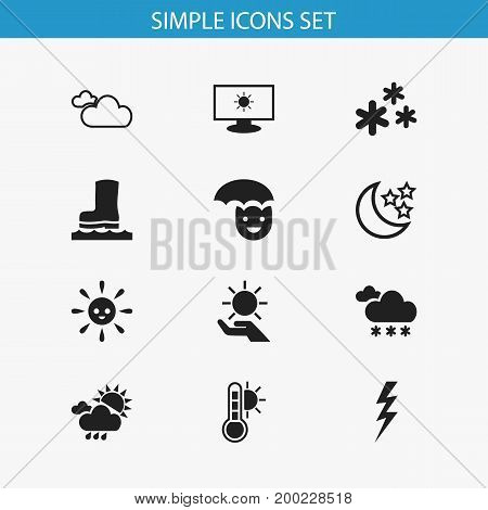 Set Of 12 Editable Weather Icons. Includes Symbols Such As Thermometer, Solar In The Palm, Laughing Solar And More