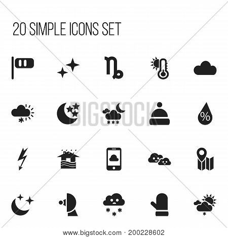 Set Of 20 Editable Weather Icons. Includes Symbols Such As Breeze Cone, Interest, Twilight And More
