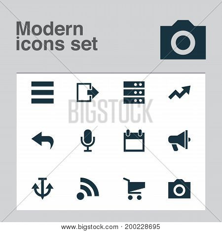 Interface Icons Set. Collection Of Photo, Shopping, Schedule And Other Elements