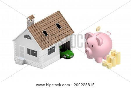 Buying house and car for family icon. Concept. 3D illustration. Icon for the web site of the bank. Blue car. Pink piggy bank isolated on white background.
