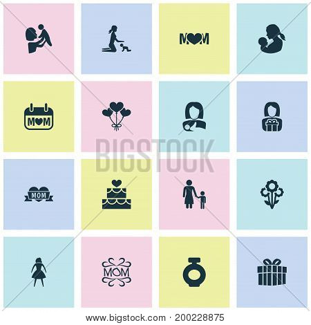 Mothers Day Icon Design Concept. Set Of 16 Such Elements As Madame, Gift And Gift To Mother