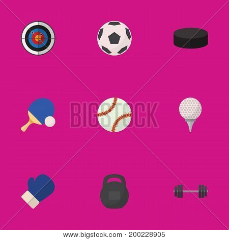 Set Of 9 Editable Lifestyle Flat Icons. Includes Symbols Such As Darts, Glob, Golf-Course And More