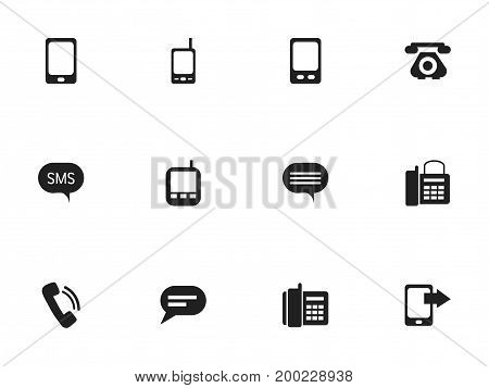 Set Of 12 Editable Device Icons. Includes Symbols Such As Radio Talkie, Office Telephone, Comment And More