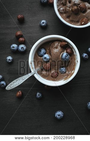 Ice Cream With Blueberries And Hazelnuts