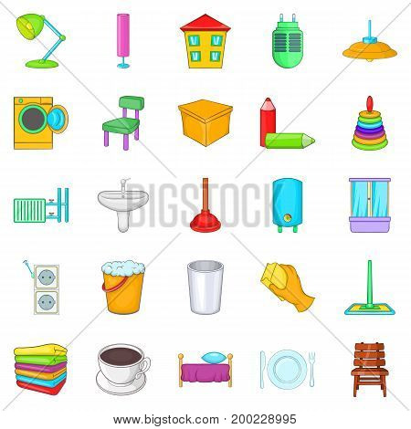 Cozy house icons set. Cartoon set of 25 cozy house vector icons for web isolated on white background