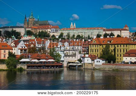 Panorama of Mala Strana and Prague castle over Vltava river. Czech Republic