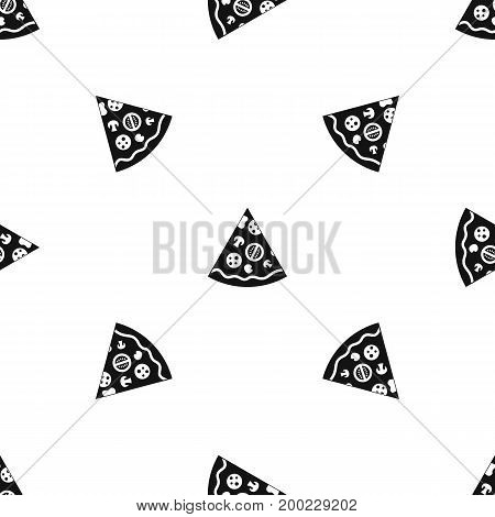 Pizza slice pattern repeat seamless in black color for any design. Vector geometric illustration