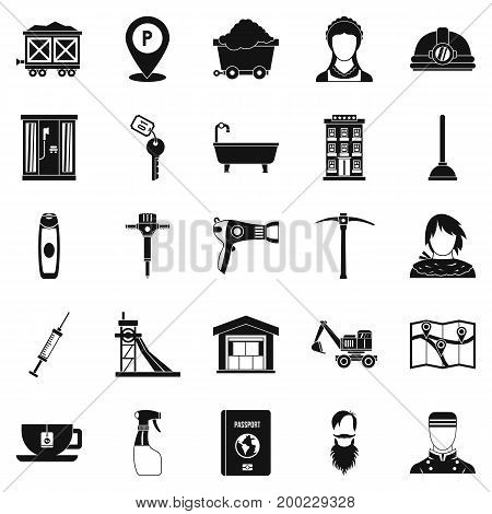 Painter icons set. Simple set of 25 painter vector icons for web isolated on white background