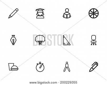 Set Of 12 Editable Education Outline Icons. Includes Symbols Such As Inkpen, Graduate, Pen And More