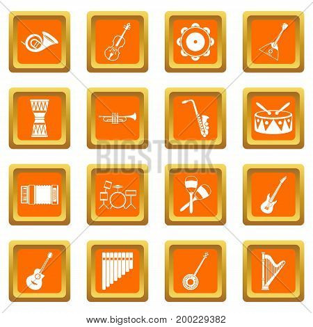 Musical instruments icons set in orange color isolated vector illustration for web and any design