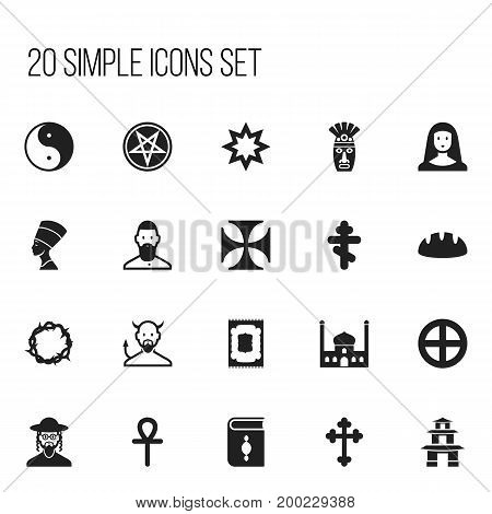 Set Of 20 Editable Religion Icons. Includes Symbols Such As Baphomet Symbol, Baguette, Satan And More