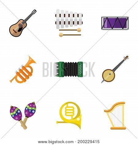 Set Of 9 Editable Mp3 Flat Icons. Includes Symbols Such As Sticks, Barrel, Tuba And More