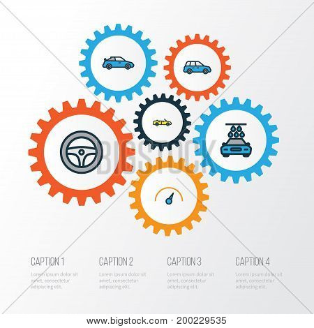 Auto Colorful Outline Icons Set. Collection Of Sport, Speed, Rudder And Other Elements