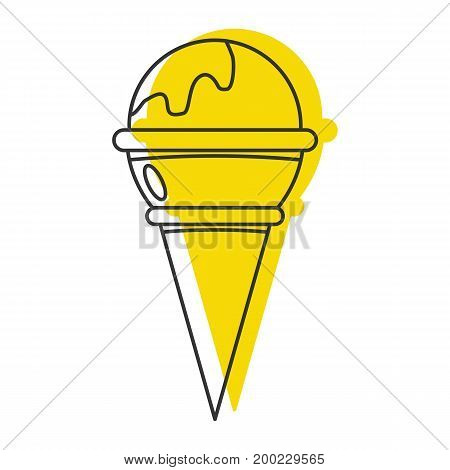 Yellow ice cream doodle icon vector illustration for design and web isolated on white background. Ice cream vector object for labels  and advertising