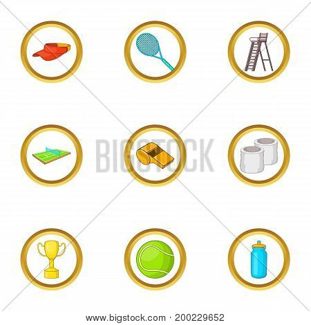 Tennis championship icons set. Cartoon illustration of 9 tennis championship vector icons for web design