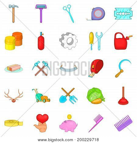 Fabrication icons set. Cartoon set of 25 fabrication vector icons for web isolated on white background