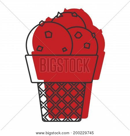 Frozen ice cream doodle icon vector illustration for design and web isolated on white background. Ice cream vector object for labels  and advertising