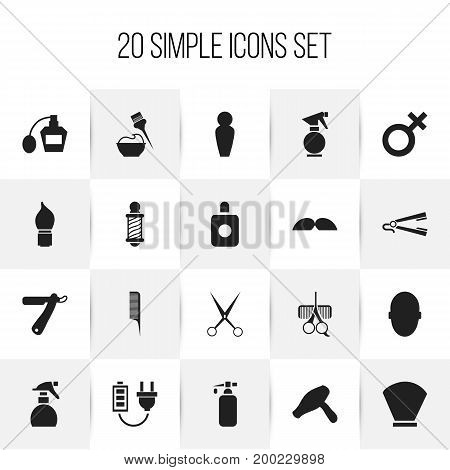 Set Of 20 Editable Barber Icons. Includes Symbols Such As Aroma, Scrub, Bristle And More