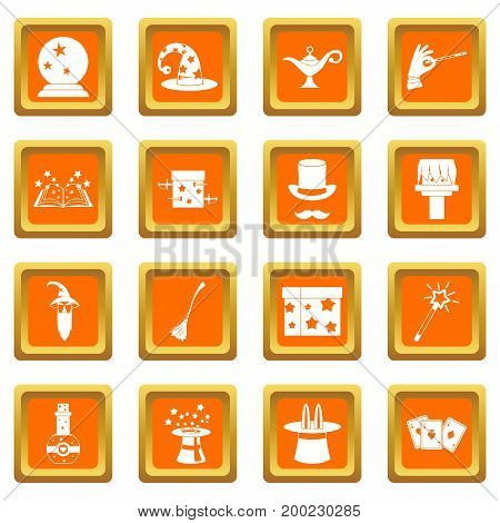 Magic icons set in orange color isolated vector illustration for web and any design