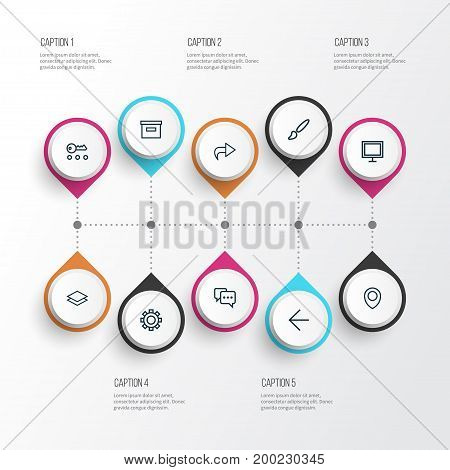 User Outline Icons Set. Collection Of Privacy, Brush, Back And Other Elements