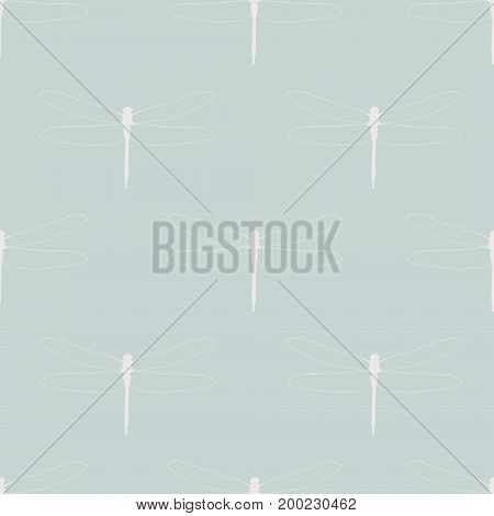 Seamless Pattern With Dragonflies. White Silhouettes Of Dragonflies On A Pastel Blue Background. Lig