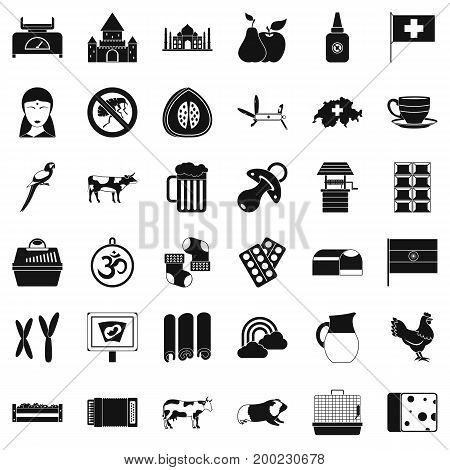 Milk cow icons set. Simple style of 36 milk cow vector icons for web isolated on white background