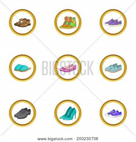 Glamour shoe sicons set. Cartoon illustration of 9 glamour shoe vector icons for web design