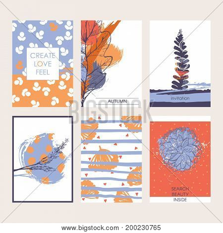 Vector set of beautiful vector cards with autumn beauty and leaves berries and hand drawn decoration. Bright and pastel colors