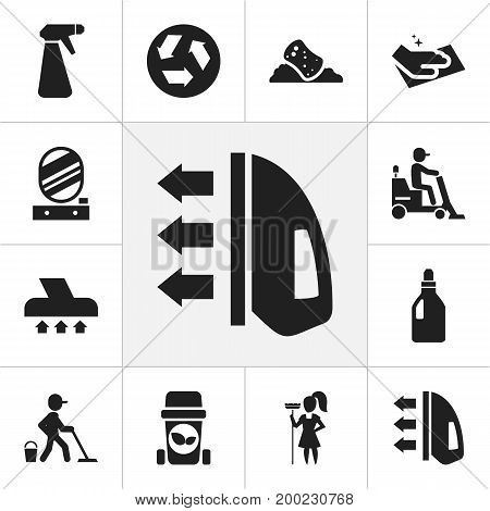Set Of 12 Editable Cleaning Icons. Includes Symbols Such As Exhauster, Ecology, Laundry Detergent And More