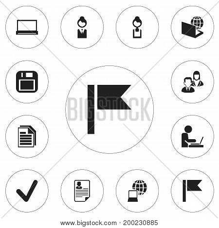 Set Of 12 Editable Office Icons. Includes Symbols Such As Floppy Disk, Globe, Monitor And More