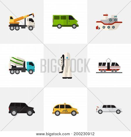 Set Of 9 Editable Vehicle Flat Icons. Includes Symbols Such As Streetcar, Limousine, Hoisting Machine And More