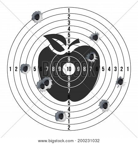 Target Gun With Bullet Holes Vector. Classic Paper Shooting Target Illustration. Holes In Target. For Sport, Hunters, Military, Police, Illustration