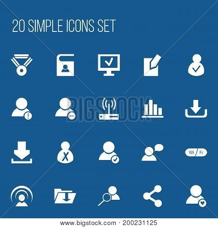 Set Of 20 Editable Global Icons. Includes Symbols Such As Modem, Computer, Approve User And More