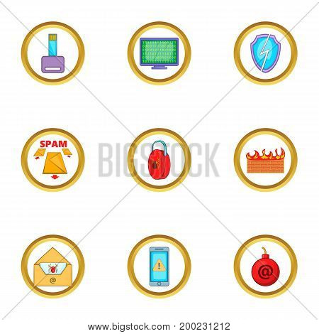 Spam icons set. Cartoon illustration of 9 spam vector icons for web design