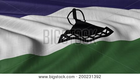 3D illustration of Lesotho Flag fluttering in strong wind.