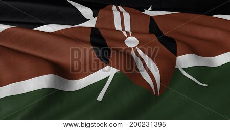 3D illustration of Kenyan flag fluttering in light wind.