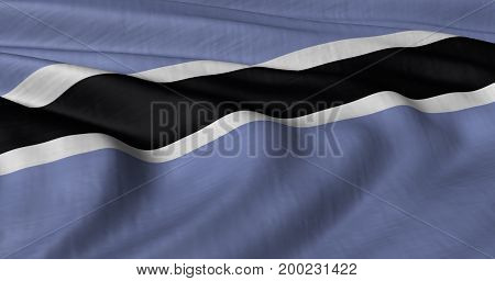 3D illustration of Botswana flag fluttering in strong wind.