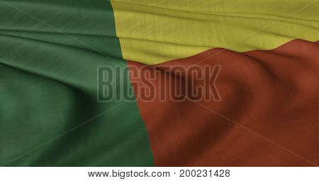 3D illustration of Benin flag fluttering in light wind.