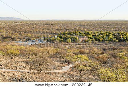 arid savanna scenery seen in Namibia Africa